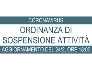 CoronaVirus: aggiornamento Ordinanza di sospensione attività