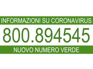 CoronaVirus: nuovo Numero Verde