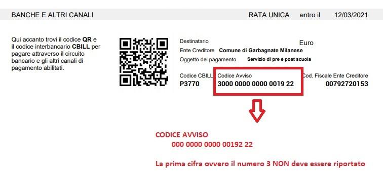 Immagine che indica che il codice avviso, richiesto in fase di pagamento, deve essere riportato senza la prima cifra che appare sull'avviso di pagamento